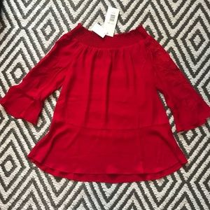 womens off the shoulder red top brand new w/ tags